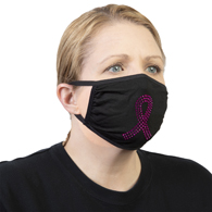 Celeste Stein Ear Loop Mask Black with Bling-Pink Ribbon